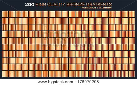 Bronze gradient, pattern, template.Set of colors for design, collection of high quality gradients.Metallic texture, shiny background.Pure metal.Suitable for text , mockup, banner, ribbon or ornament.