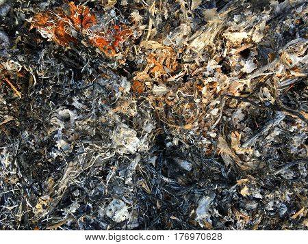 texture of ashes after burn fire already.