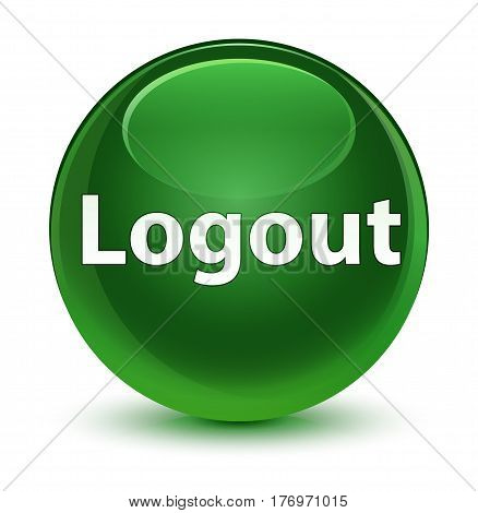 Logout Glassy Soft Green Round Button