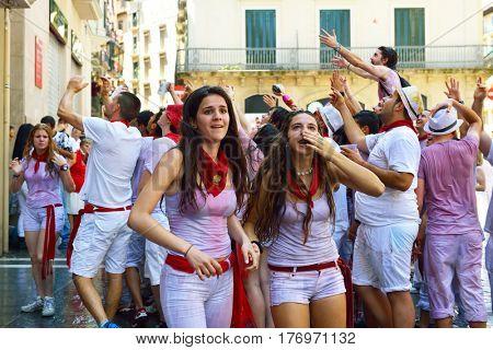 People celebrate San Fermin festival, 06 July 2016, Pamplona, Navarra, Spain. Traditional spanish feast described by Hemingway.