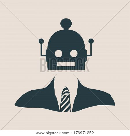 Businessman with cute vintage robot head. Robotics industry relative image.