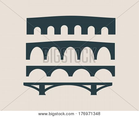 Bridges silhouette. Set of vector illustrations isolated on grey. Various constructions of bridges. Urban architecture.
