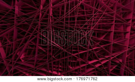 Colorful Abstract background. Chaotic lines. 3D rendering