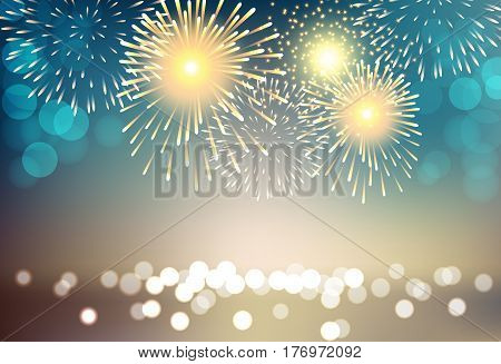Abstract colorful firework on city landscape background for celebration