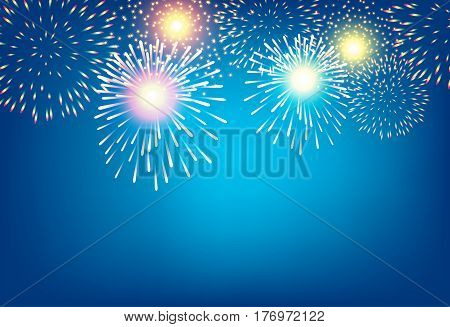Apstract golden firework on blue background for celebration concept