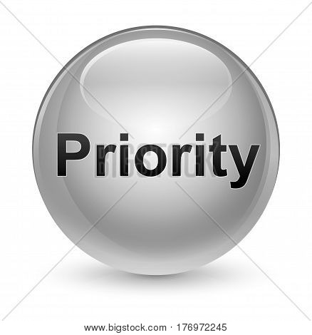 Priority Glassy White Round Button