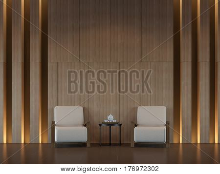 Modern living room interior minimal style 3d rendering image. There are minimalist style decorate room with wood and hidden warm light