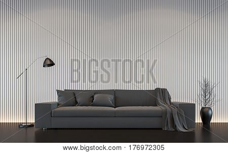 Modern white living room interior 3d rendering image. there are a blank wall with pure white and black floor. Decorate wall with extrude vertical line pattern and hidden warm light