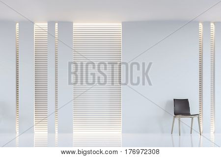 Modern white living room interior 3d rendering image. A blank wall with pure white. Decorate wall with extrude horizon line pattern and hidden warm light