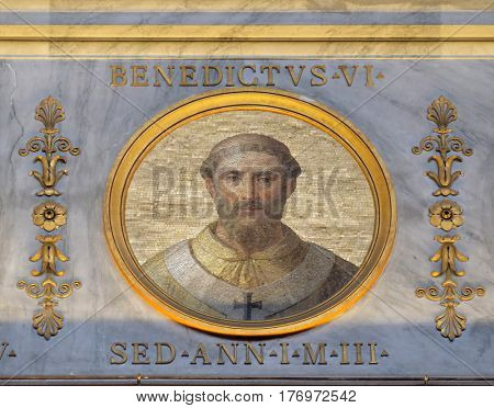 ROME, ITALY - SEPTEMBER 05: Image of Pope Benedict VI was Pope from 19 January 973 to his death in 974 in the basilica of Saint Paul Outside the Walls, Rome, Italy on September 05, 2016.