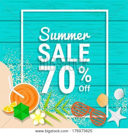 Sandsunglasses orange juice and shell on blue wooden for 70% off for summer sale discounts