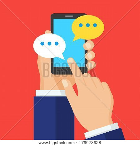 Hand with smartphone and chatting bubble speeches. Chat icon message on smartphone screen. Online conversation concept. Creative flat design vector illustration.