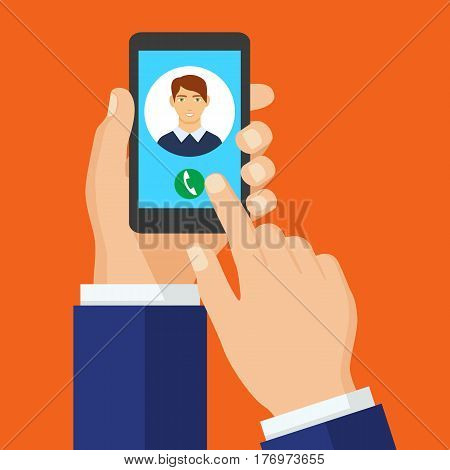 Incoming call on smartphone screen. Vector concept call to man. and hold phone finger touch sign in button. Male avatar. Vector flat illustration.