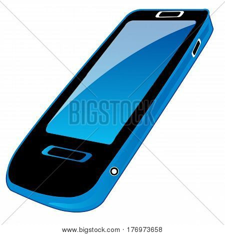 Device mobile telephone on white background is insulated