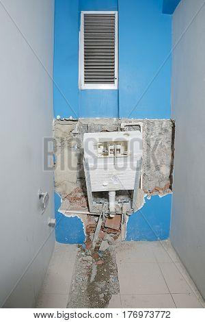 Destroyed Flushing Toilet