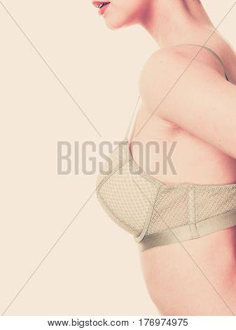 Woman Chest In Underwear Bra Lingerie