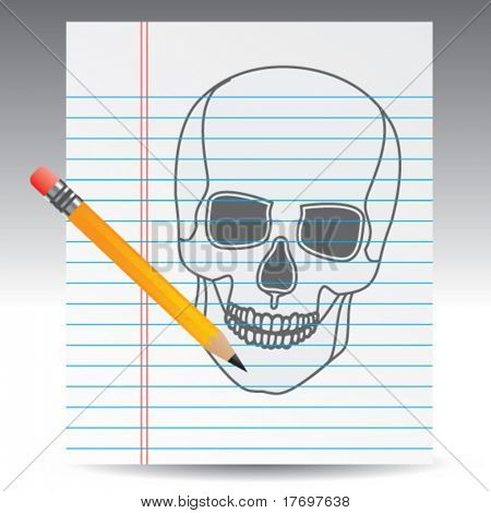 scary skull on notebook paper