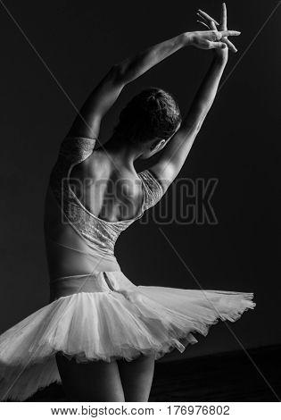 Young beautiful ballerina posing in studio