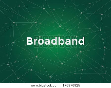 broadband white text illustration with green constellation map as background vector