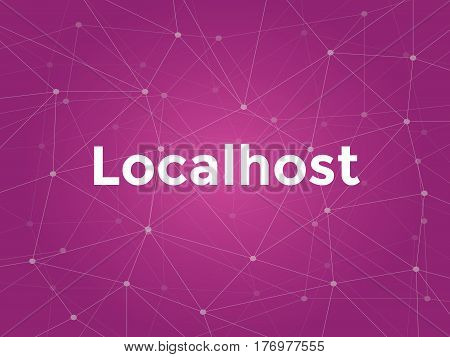 localhost white text illustration with purple constellation map as background vector