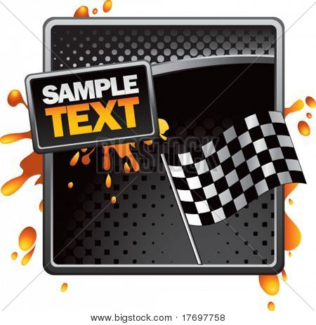 checkered flag on grungy splattered background