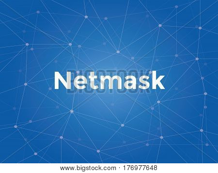 netmask white text illustration with blue constellation map as background vector