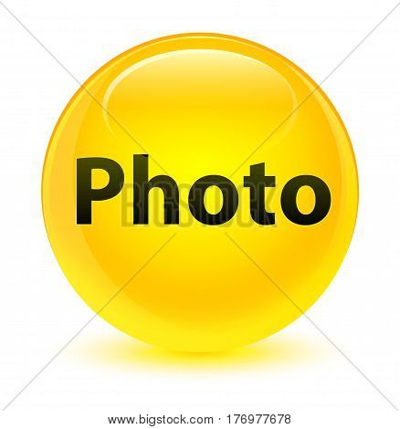 Photo Glassy Yellow Round Button