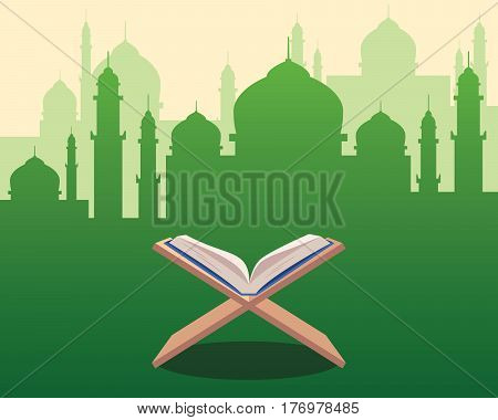 illustration of Holy Qoran on wood table with green silhouette of a mosque with dome and towers as background vector