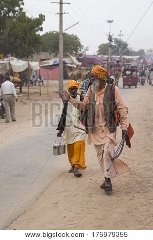 PUSHKAR INDIA-OCT 30 : candid shot of sadhu in Pushkar on october30 2014 india. sadhu is hindi name of hindu ascetic.