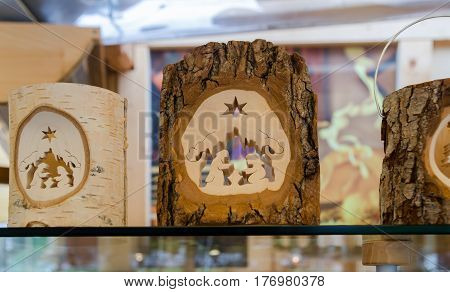 Handmade Wooden Christmas Souvenirs At Gift Shop In Hallstatt, Austria.