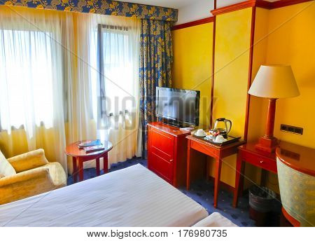 Girona, Spain - September 5, 2015 :The inside view of standart room at hotel Melia Girona 4 stars at Girona, Spain on September 5, 2015