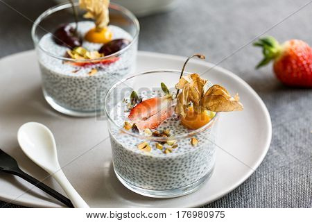 Chia pudding with Strawberry,Cherry Gooseberry and Pistachio