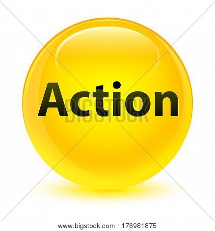 Action Glassy Yellow Round Button
