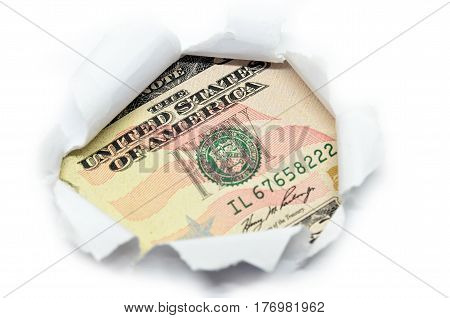 Us Currency Peeking Through White Paper.