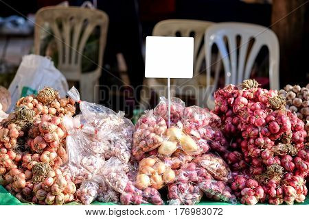 Shallots and garlic in the local market thailand.