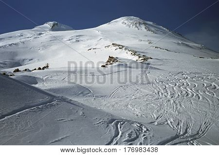 Ski slopes of Mt. Elbrus 5642m the highest mountain of Europe, Caucasus, Russia.