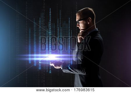 business, people, virtual reality, cyberspace and future technology concept - businessman with transparent tablet pc computer and binary code projection over black background