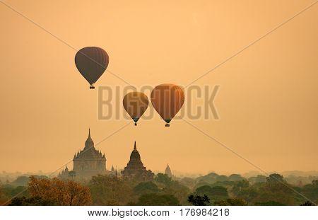 Asian Balloon air for see old bagan pagoda in mandalay Myanmar is morning sunrise