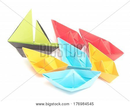 origami boats isolated on a white background