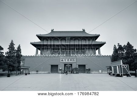 Ancient historical buildings in black and white in Imperial Palace in Beijing, China