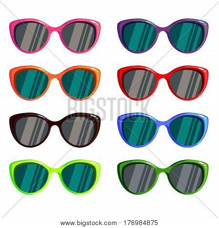Sunglasses set wayfarer shape multicolored isolated - vector illustration
