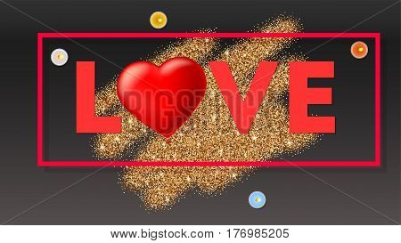 Love typography card, large red heart in the form of an inflatable, scarlet balloon. Top view on composition with golden glitter background, candles and frame. Template for creative persons