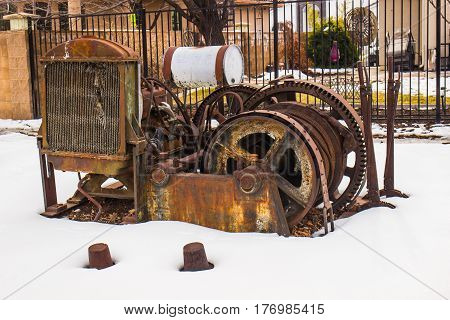 Vintage Rusted Engine & Radiator Used For Mining Operations
