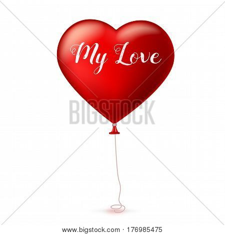 Bright red heart, the inflatable balloon in the shape of a realistic, big heart with tape, ribbon. Greeting card for your friends, loved ones with a bouncy ball in form heart on white background.