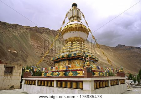 Buddhist Stupa at the Ancient Monastery of Tabo in Spiti Valley, Northern India.
