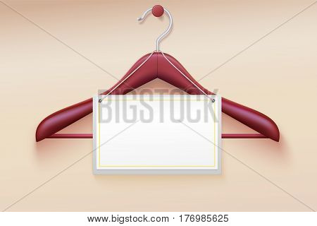 Wooden hanger with tag isolated on cream background. Realistic vector illustration