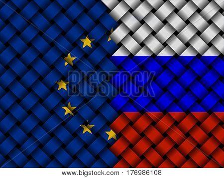 EU Russian interwoven flags 3d illustration