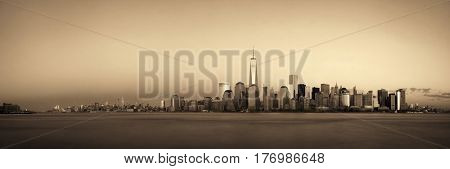 New York City skyline with skyscrapers over Hudson River viewed from New Jersey