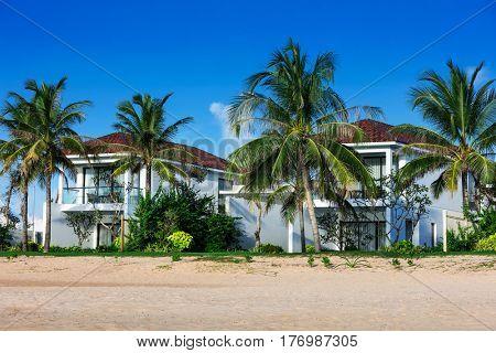 beautiful villa on the beach on a sunny day