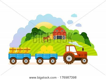 Farm and farmland, the village with gardens, greenery, harvest and grain, hay, organic products. Vector illustration. Can be used as banners, brochures, leaflets.